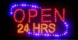 LED blinkende skilt, Open 24 Hours